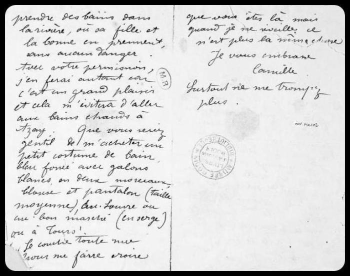 Lettre de Camille Claudel à Auguste Rodin