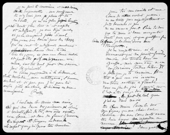 Lettre d'Auguste Rodin à Camille Claudel